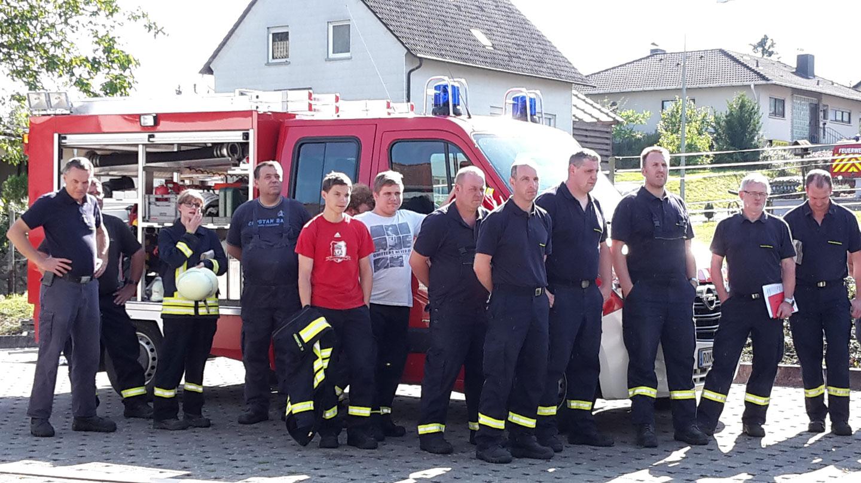 Gruppenbild der Feuerwehr Ransweiler nach der Besichtigung