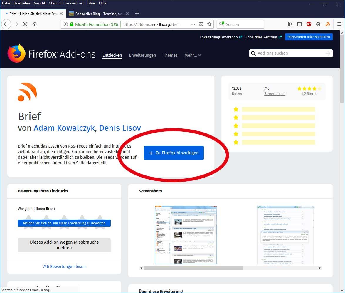 Addon für Firefox-Browser auf einem Desktop-Computer installieren