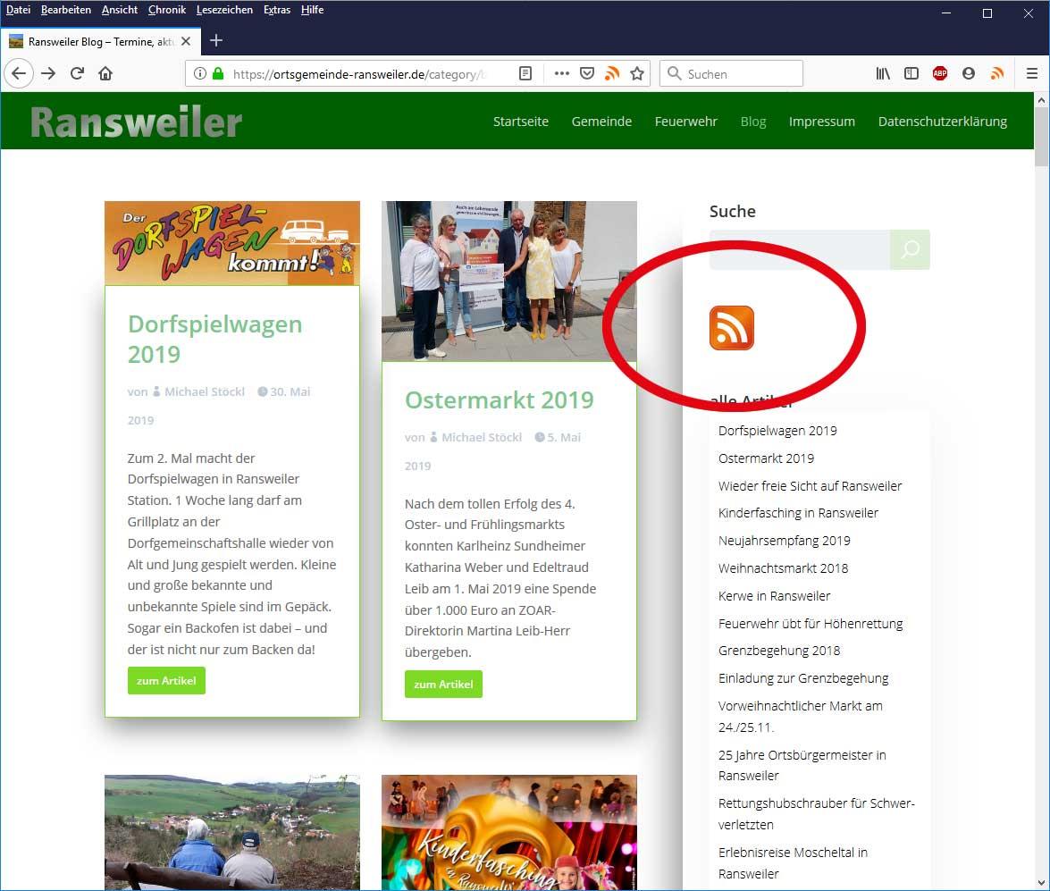 RSS-Icon in der Seite des Ransweiler Blog anklicken