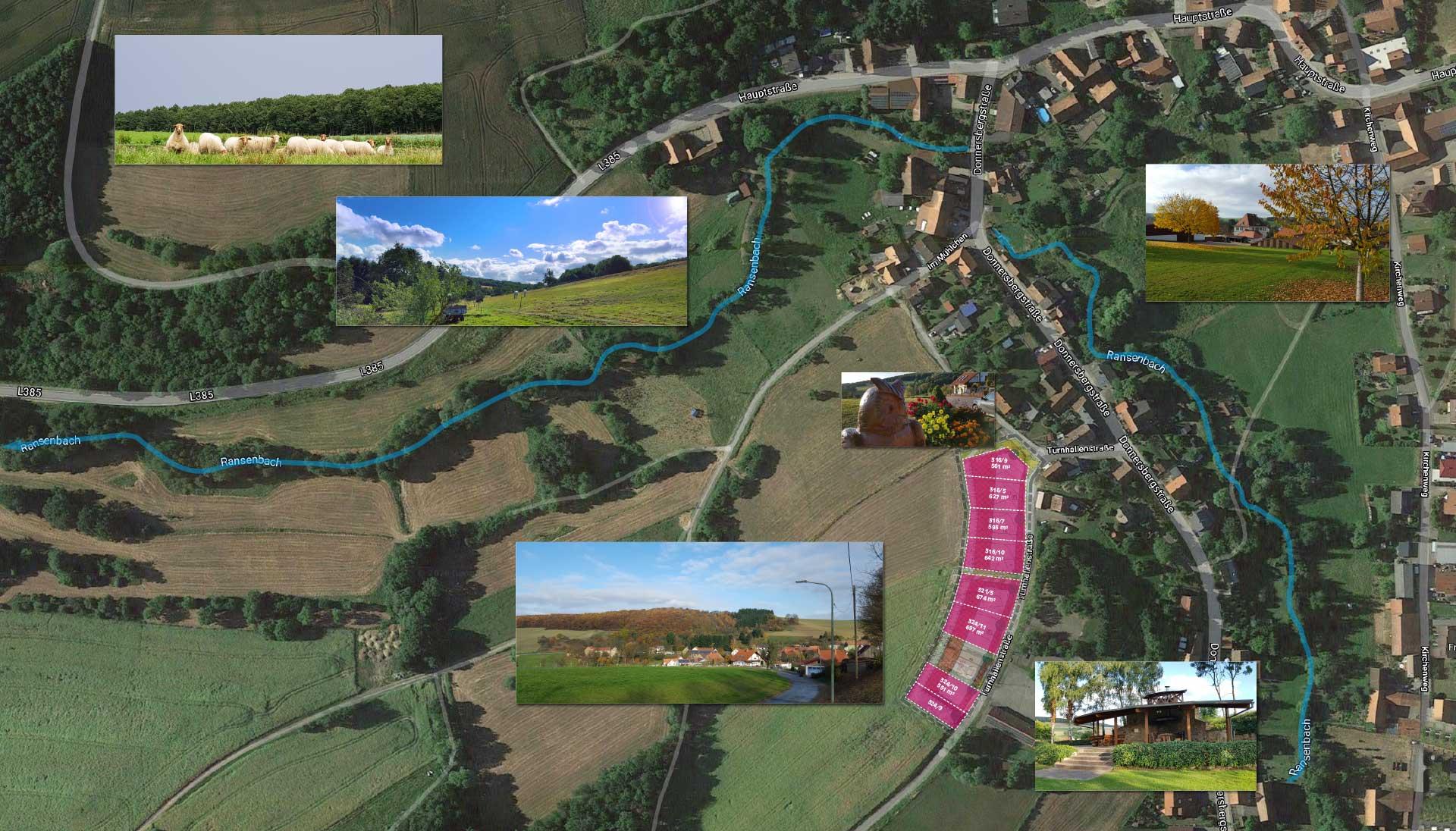 Ransweiler in einer Luftaufnahme. Die Baugrundstücke sind rot eingezeichnet. (© Google Maps)